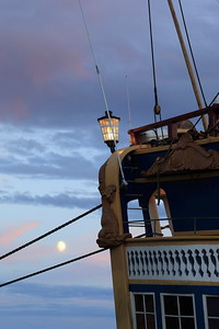 Moonshine and tall ship