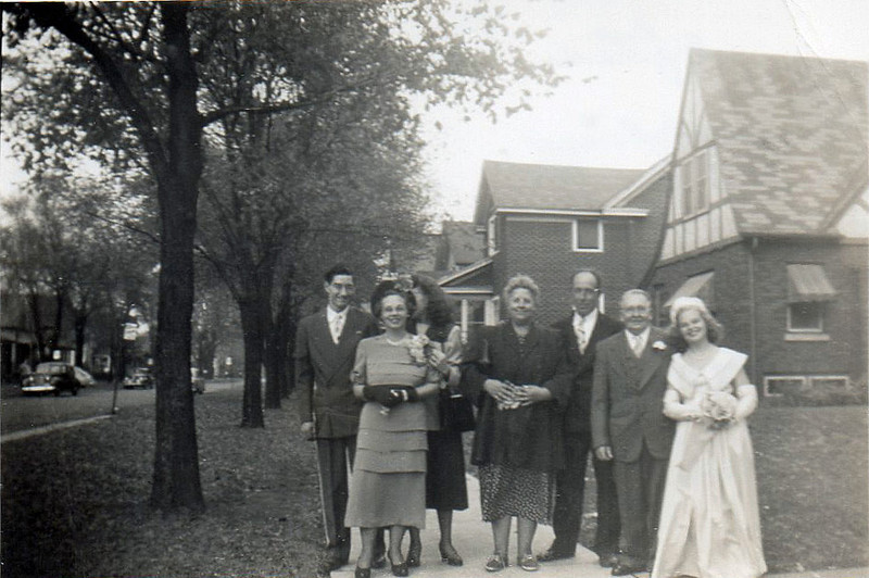 """Oct. 9, 1949 after June and Johnny's wedding.  Frank, Aunt Elsie, Me (Dorothy), Mom, Dad, Uncle Walter and Gail"""