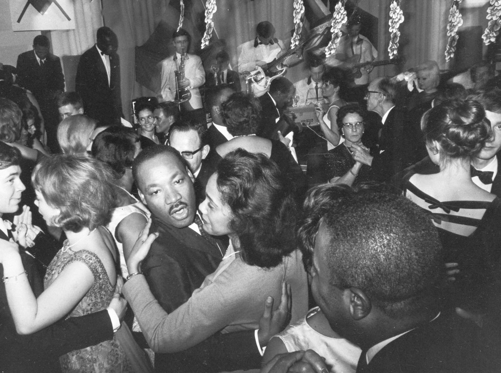 . Dr. Martin Luther King, Jr., and his wife Coretta Scott King, dance Dec. 13, 1964, at the Malmen Hotel in Stockholm where he was a guest of honor on the one year anniversary festivals for the Republic of Kenya.  King is this year\'s Nobel Peace Prize winner.  (AP Photo/Reportagebild)