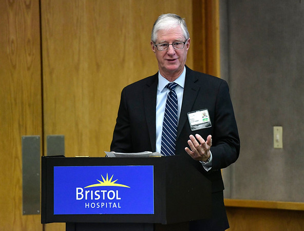 2/12/2019 Mike Orazzi | Staff Bristol Hospital Chairman of the Board Douglas Devnew during the Presidents Forum Breakfast Tuesday morning.