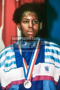 1989 Belgrade Worlds 891015E19: Sharon Lee of Great Britain with her silver medal at the women's Open medal ceremony  ....