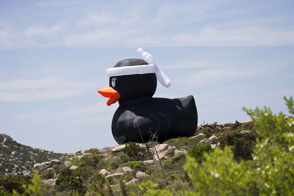 . A giant inflatable duck is pictured along the road where cyclists ride during the 213 km first stage of the 100th edition of the Tour de France cycling race on June 29, 2013 between Porto-Vecchio and Bastia, on the French Mediterranean Island of Corsica.  AFP PHOTO / JOEL  SAGET/AFP/Getty Images