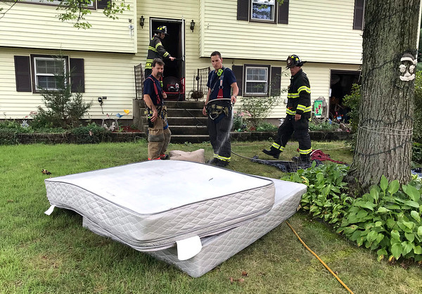 9/14/2018 Mike Orazzi | Staff Bristol firefighters on scene of an electrical fire on Indiana Street in Bristol Friday.