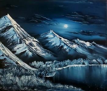 """""""Bold Mountain Blue"""" (oil) by Brett Dalziel"""