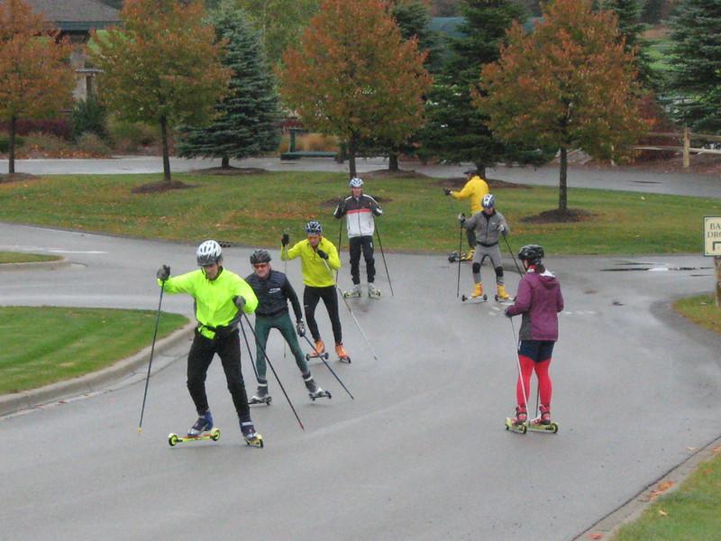 Roller ski participants worked on V-2, V-2 alternate & V-1. Afterwards, technique was critiqued using videotape.