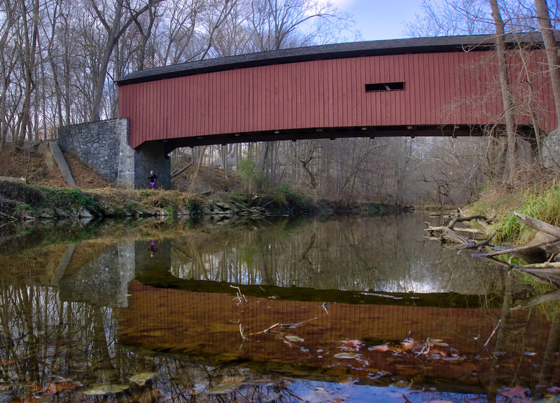 1109 - Kurtz Mill Covered Bridge Reflection