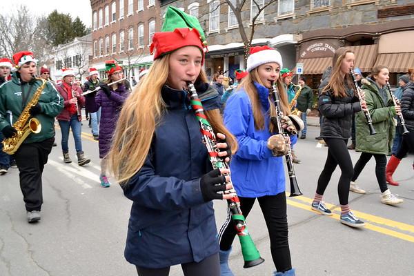 WUHS Band at Wassail Parade, 2017