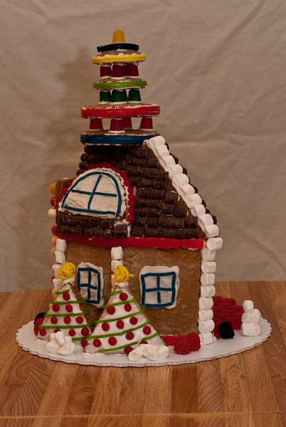 Gingerbread house left side view.  (Ab Initio, Joel's company, gave everyone a gingerbread house building kit.  Here is the house Daphne and Ben built.)