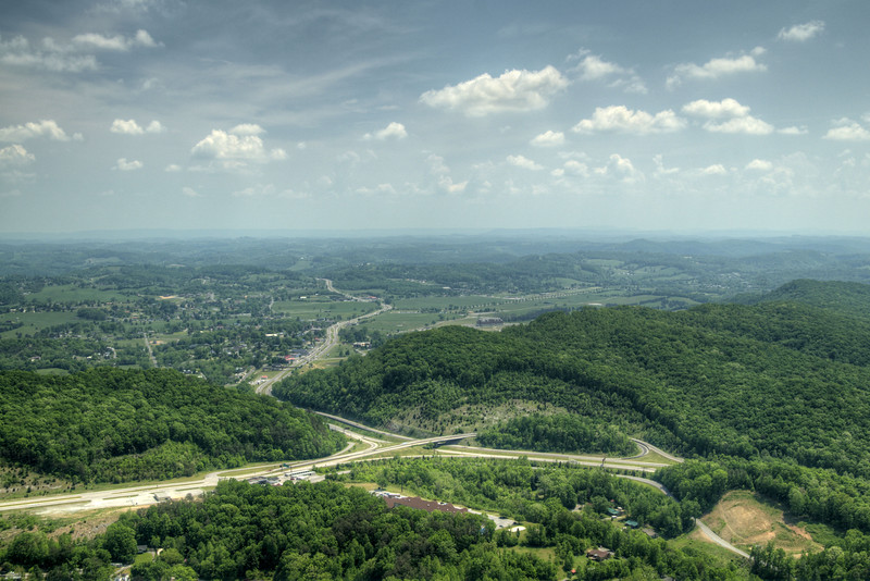 A view of the highway interchange far below the scenic overlook at Cumberland Gap National Historical Park in Middlesboro, KY on Saturday, May 9, 2015. Copyright 2015 Jason Barnette