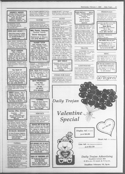 Daily Trojan, Vol. 108, No. 14, February 01, 1989