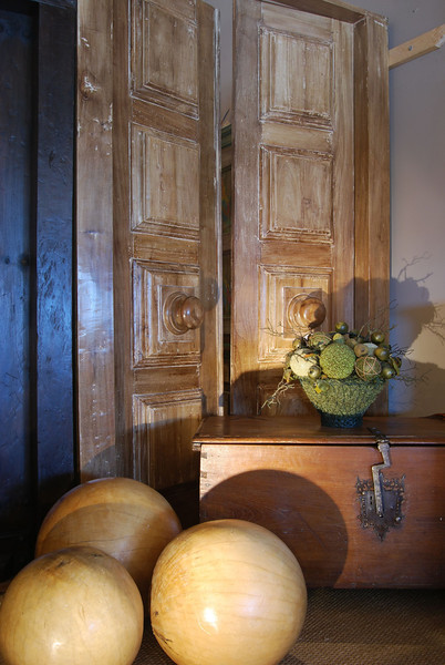 Antique Spainish colonial Trunk, giant wood balls for decor, large Rebuilt door with new big knob handles.