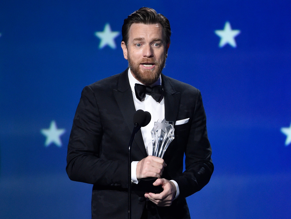 ". Ewan McGregor accepts the award for best actor in a movie made for TV or limited series for ""Fargo\"" at the 23rd annual Critics\' Choice Awards at the Barker Hangar on Thursday, Jan. 11, 2018, in Santa Monica, Calif. (Photo by Chris Pizzello/Invision/AP)"