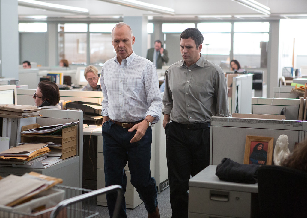 """. This photo provided by Open Road Films shows Michael Keaton, left,  and Mark Ruffalo in a scene from the film, \""""Spotlight.\"""" Ruffalo was nominated for an Oscar for best supporting actor on Thursday, Jan. 14, 2016, for his role in the film. The 88th annual Academy Awards will take place on Sunday, Feb. 28, at the Dolby Theatre in Los Angeles. (Kerry Hayes/Open Road Films via AP)"""