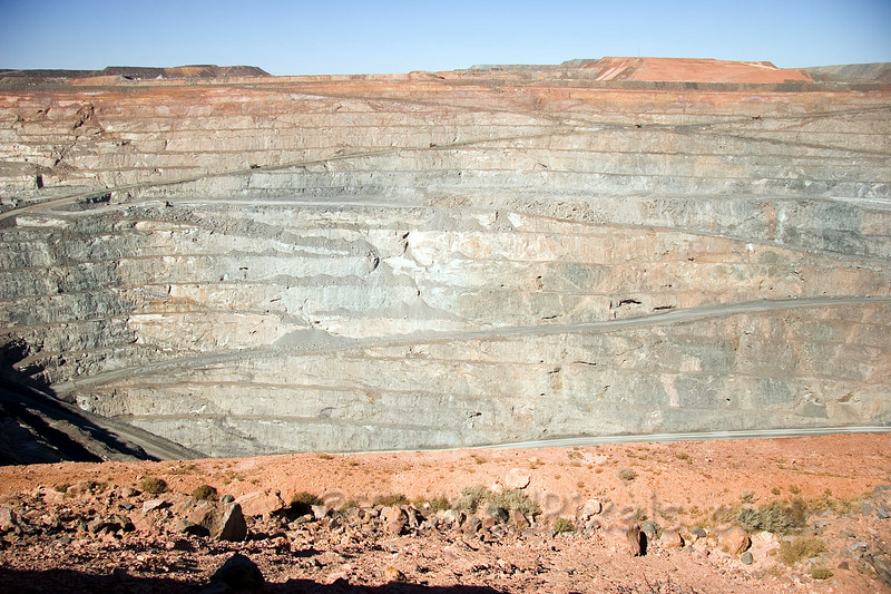 Super Pit...old mine drifts evident on rock face.