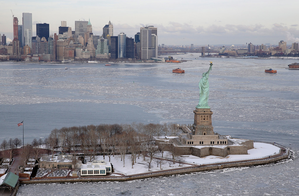 . The Statue of Liberty is seen in New York, Tuesday, Feb. 24, 2015.  (AP Photo/Seth Wenig)