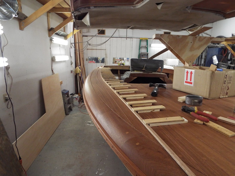 Front starboard view of the jig used to route the two outside deck seams.