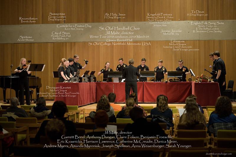 St. Olaf Handbell Choir, Winter Tour 2018, Urness Recital Hall, St. Olaf College, Northfield, Minnesota USA.