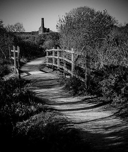Cornish Tin Mines, Engine & Pump Houses in B&W