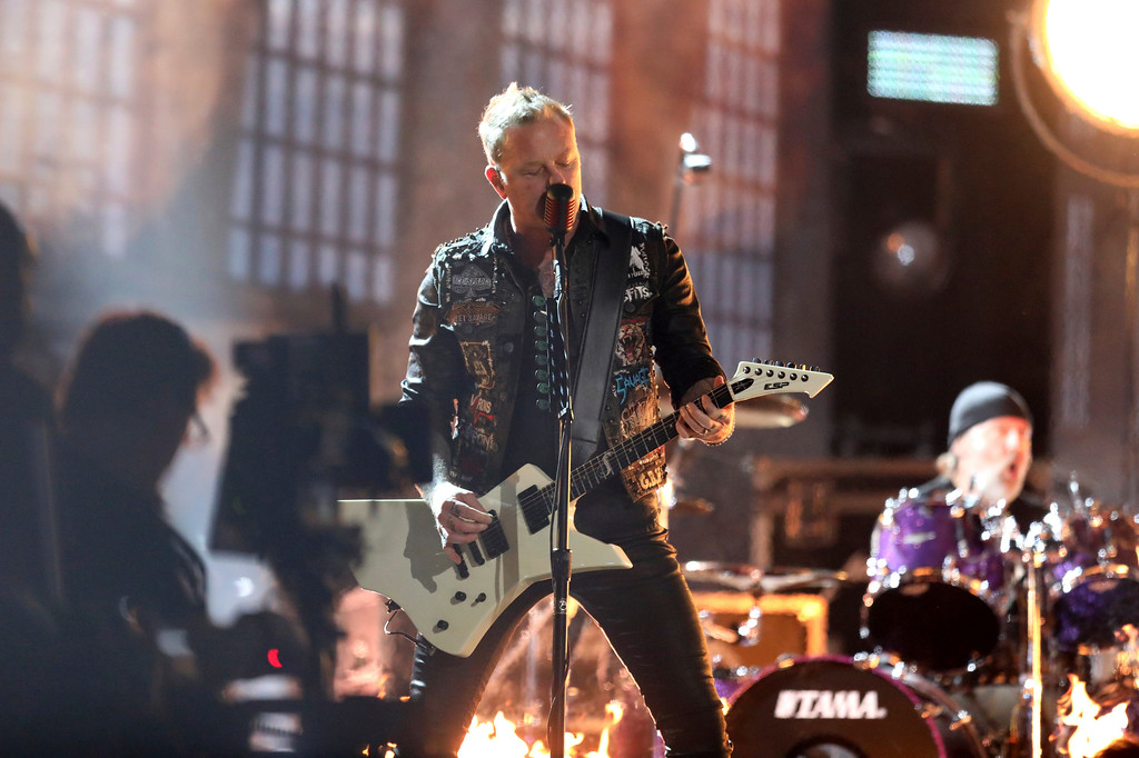 ". James Hetfield of ""Metallica\"" performs \""Moth Into Flame\"" at the 59th annual Grammy Awards on Sunday, Feb. 12, 2017, in Los Angeles. (Photo by Matt Sayles/Invision/AP)"