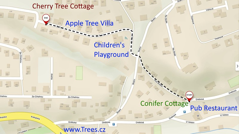 Walk 440 metres from Cherry Tree Cottage to Conifer Cottage
