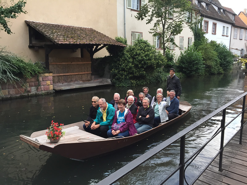 Half of our group in one of the canal tour boats in Colmar, France.