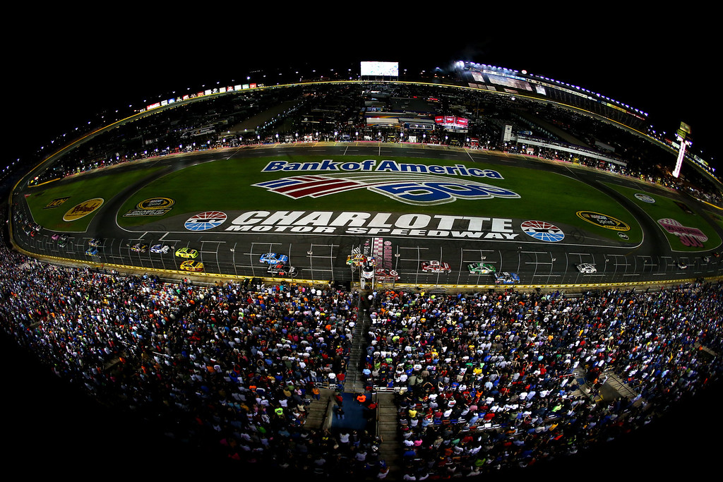 . CONCORD, NC - OCTOBER 12:  General view of cars racing the NASCAR Sprint Cup Series Bank of America 500 at Charlotte Motor Speedway on October 12, 2013 in Concord, North Carolina.  (Photo by Streeter Lecka/Getty Images)