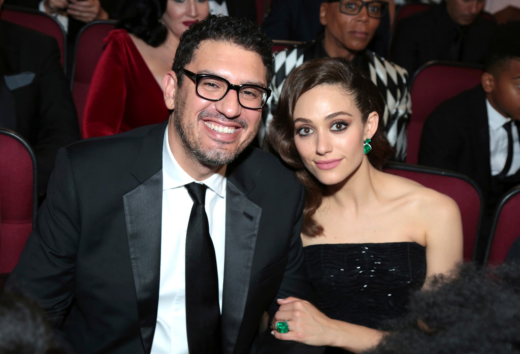 . Sam Esmail, left, and Emmy Rossum pose in the audience at the 69th Primetime Emmy Awards on Sunday, Sept. 17, 2017, at the Microsoft Theater in Los Angeles. (Photo by Alex Berliner/Invision for the Television Academy/AP Images)