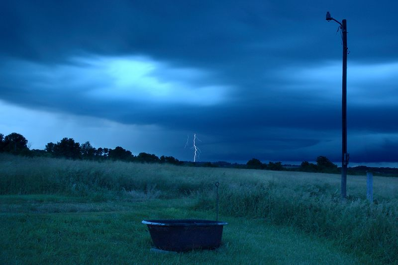 After several attempts with 15 second exposures, I finally caught the lightning.