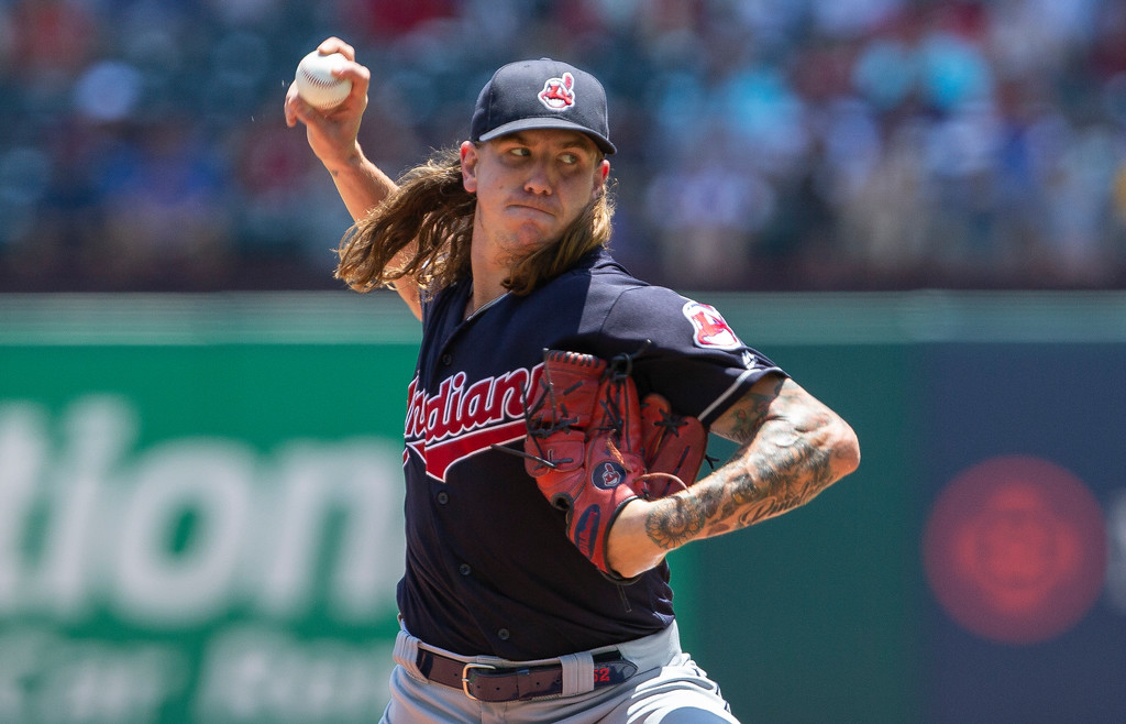 . Cleveland Indians starting pitcher Mike Clevinger delivers during the first inning of a baseball game against the Texas Rangers, Sunday, July 22, 2018, in Arlington, Texas. (AP Photo/Sam Hodde)