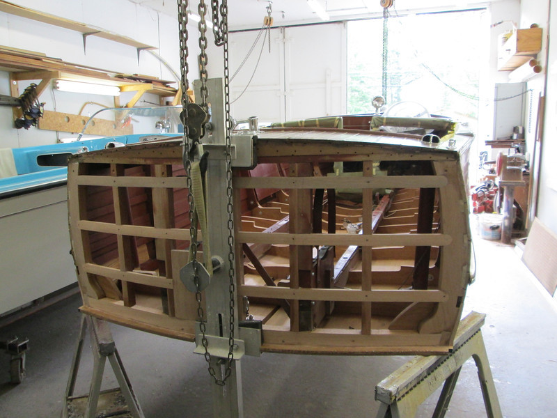 Rear view of the hull turned right side up.