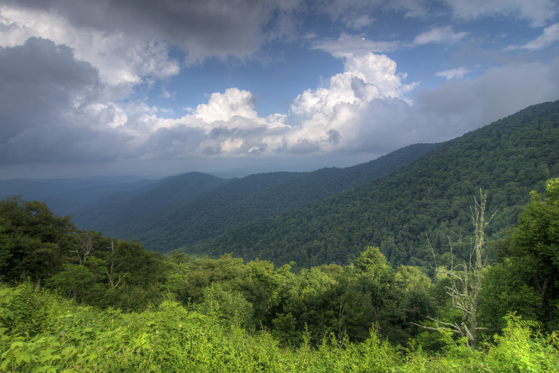 View from an overlook near Mount Pisgah at Milepost 408.6 on the Blue Ridge Parkway in North Carolina on Friday, July 24, 2015. Copyright 2015 Jason Barnette