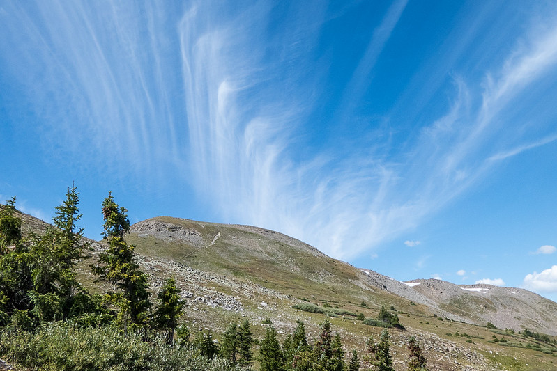 Continental Divide Trail (CDT) switchbacks up than knob - nice clouds!