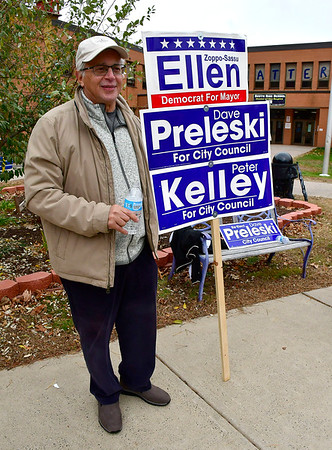 11/5/2019 Mike Orazzi | StaffrChristopher Ziogas while at the South Side School on election day in Bristol.