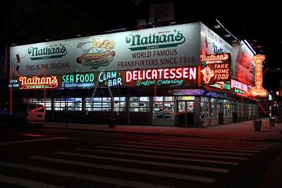 Brooklyn, NY / USA - January 3, 2019: Nathans at early evening in Coney Island.