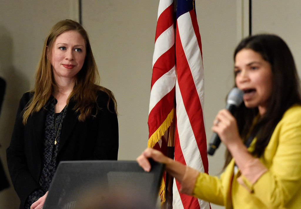. DENVER, CO - FEBRUARY 18: Chelsea Clinton (L) listens to actress America Ferrera during her speech to supporters at DU. Chelsea and  America are campaigning for Hillary Clinton in Denver February 18, 2016 at the Anderson Academic Commons. Chelsea and America spoke to about 100 supporters.  (Photo By John Leyba/The Denver Post)