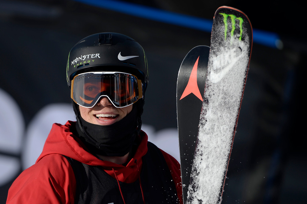 . ASPEN, CO - JANUARY 25: Gus Kenworthy performs during the men\'s ski half pipe final. Winter X Games on Sunday, January 25, 2015. (Photo by AAron Ontiveroz/The Denver Post)