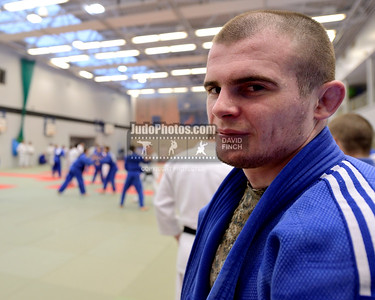 2013 Tonbridge Judo Training Camp 131220A5517: British Champion, Danny Williams 24, standing at the edge of the mat during the Tonbridge Internati....
