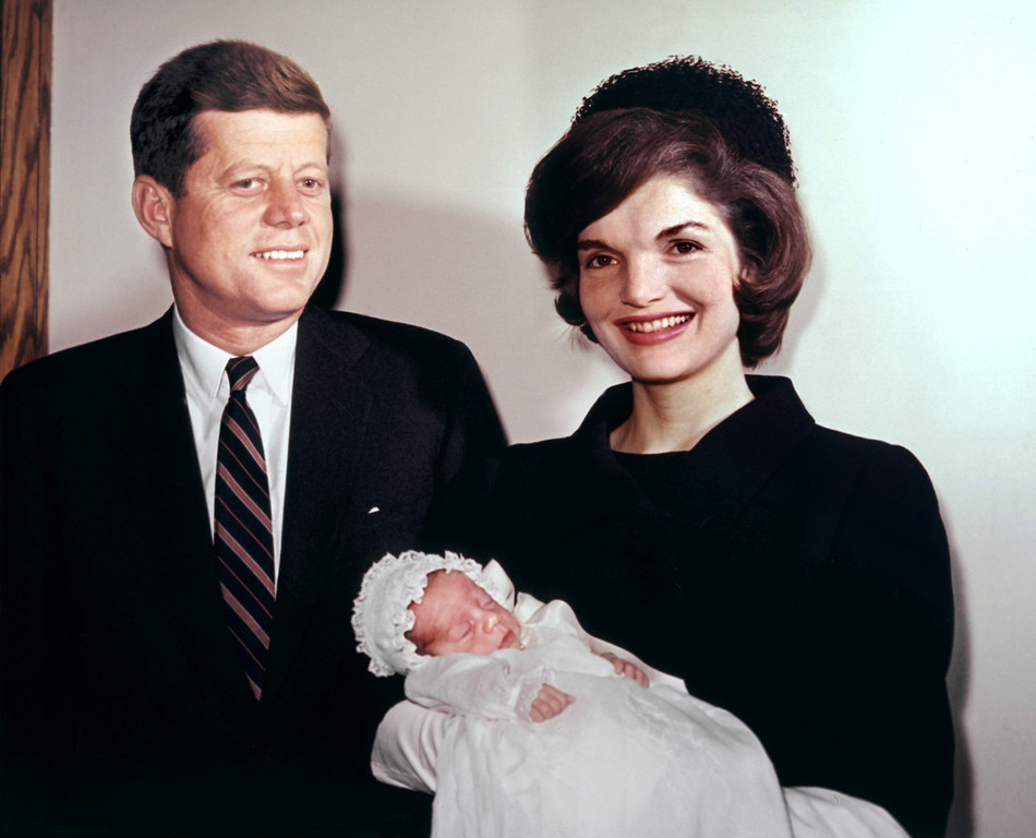 . Sen. Kennedy and wife Jacqueline pose with their son John on Dec. 10, 1960. AFP/Getty Images