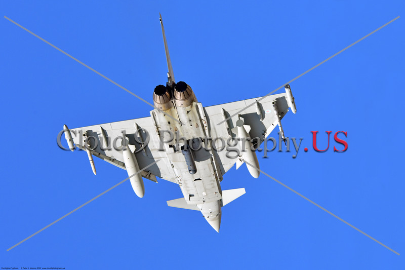 Eurofighter Typhoon-British RAF 0007 Belly view of a British RAF Eurofighter Typhoon jet fighter climbing out after taking off at Nellis AFB during a Red Flag exercise in 2020, military airplane picture by Peter J. Mancus     852_6841     DONEwt.JPG