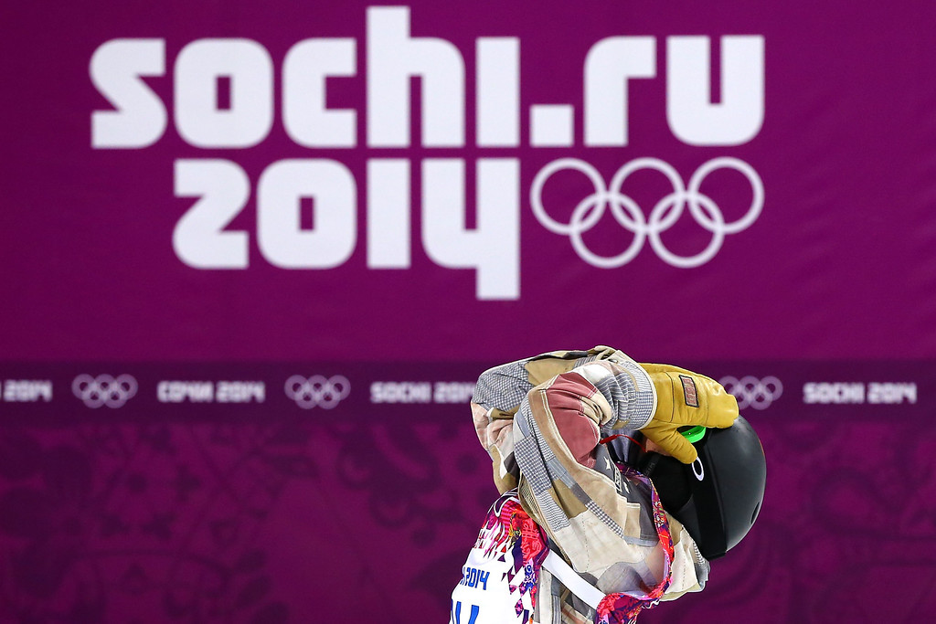 . Taylor Gold of the United States reacts after his Snowboard Men\'s Halfpipe Semifinal on day four of the Sochi 2014 Winter Olympics at Rosa Khutor Extreme Park on February 11, 2014 in Sochi, Russia.  (Photo by Al Bello/Getty Images)