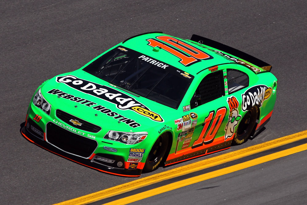 Description of . Danica Patrick, driver of the #10 GoDaddy.com Chevrolet, during qualifying for the NASCAR Sprint Cup Series Daytona 500 at Daytona International Speedway on February 17, 2013 in Daytona Beach, Florida.  (Photo by Todd Warshaw/Getty Images)