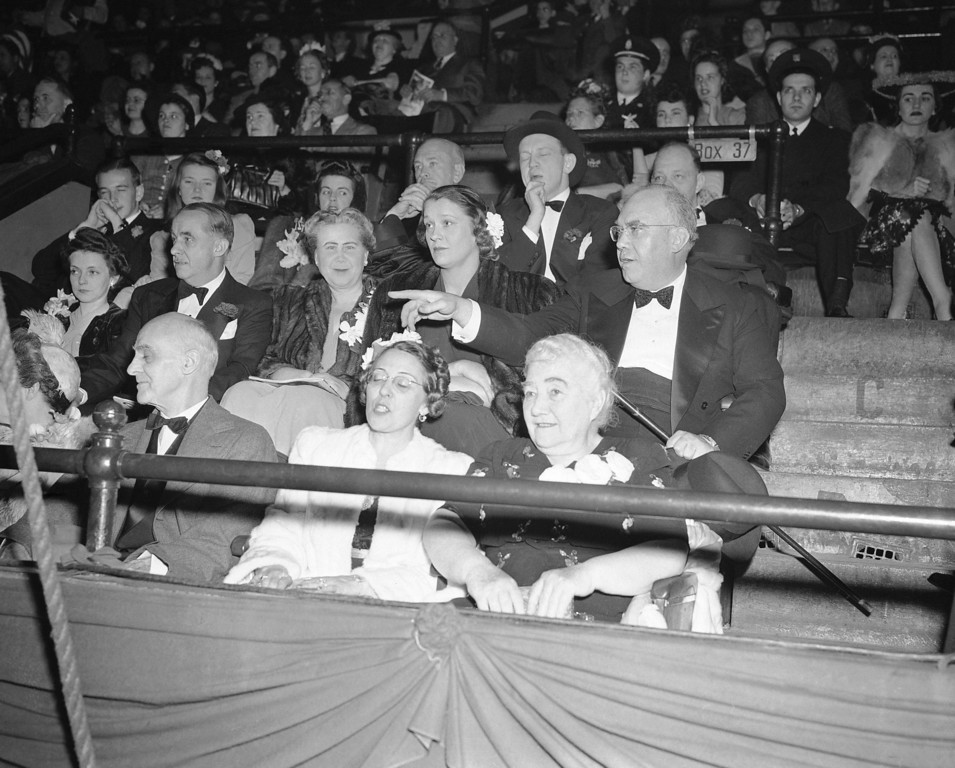 . Together for the first time to watch the Ringling Brothers Barnum and Bailey circus, these members of the Ringling family drew attention as they sat in their box as the big show opened in New York on April 9, 1943. Left to right, front row: Mrs. Aubrey Ringling and Mrs. Charles Ringling; Second row: Mrs. and Mr. Robert Ringling. (AP Photo)