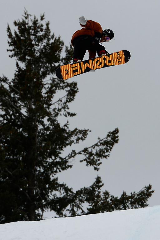 . ASPEN, CO. - JANUARY 24: Stale Sandbech hits a jump during the men\'s Snowboard Slopestyle elimination. Men\'s Snowboard Slopestyle elimination X Games Aspen Buttermilk Mountain Aspen January 24, 2013. (Photo By AAron Ontiveroz / The Denver Post)