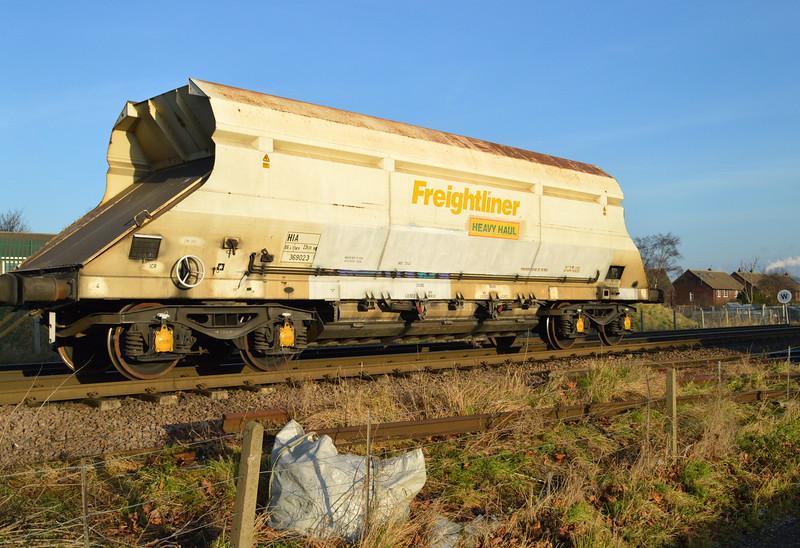 HIA 369023 Seen in 6m03 Eggborough-Tunstead rake passing Womersley Road crossing 28/12/14.