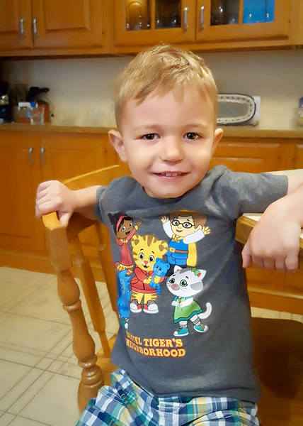 Showing off his Daniel Tiger Shirt!