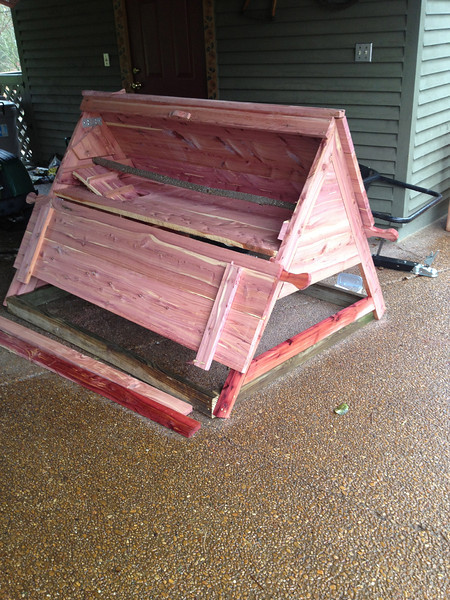 So, my handy husband built them a little A-Frame house that we had seen at our local garden show.