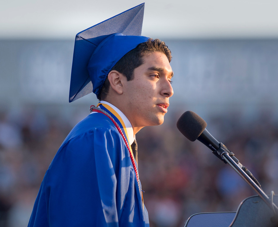 . Andrew Mendez speaks during California High graduation at their Whittier campus stadium June 13, 2013.   (SGVN staff photo by Leo Jarzomb)