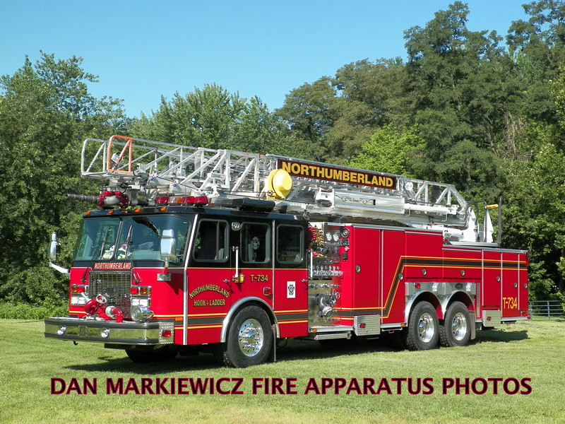 NORTHUMBERLAND FIRE DEPT. TRUCK 734 2001 E-ONE AERIAL LADDER QUINT