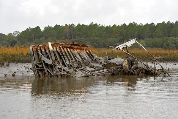Sunken Shrimp Boat in Floyd's Creek 11-18-08