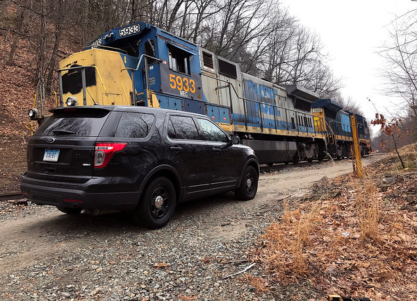 3/17/2020 Mike Orazzi | StaffrBristol police on scene after a person was discovered unresponsive in Rockwell Park along the railroad tracks in Bristol on Tuesday afternoon.